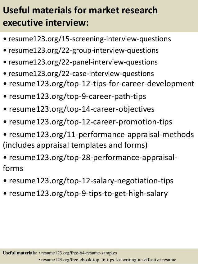 market research resume samples