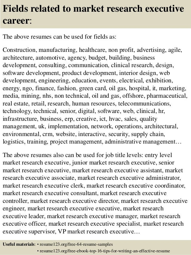 16 fields related to market research - Market Research Resume Sample