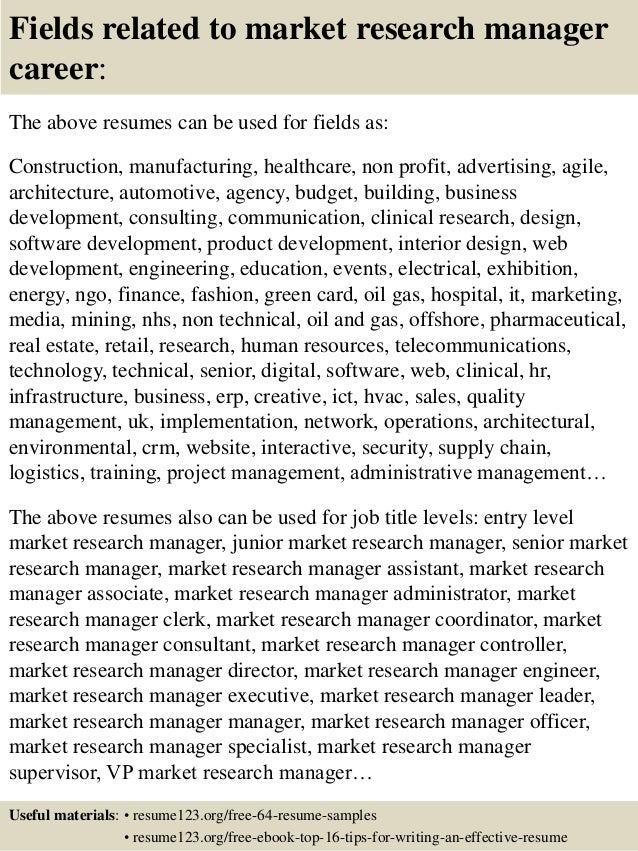 top 8 market research manager resume samples