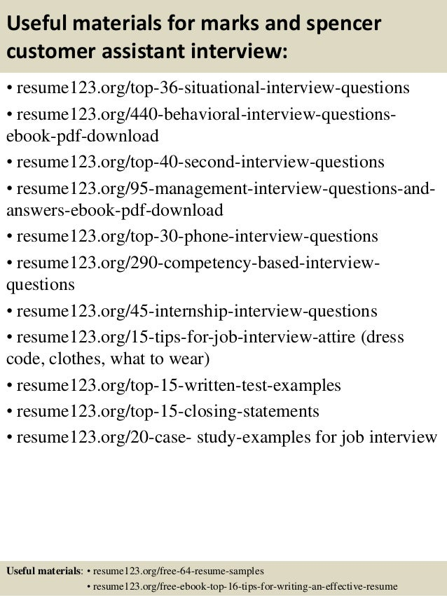 top 8 marks and spencer customer assistant resume samples
