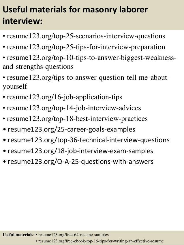Top 8 masonry laborer resume samples