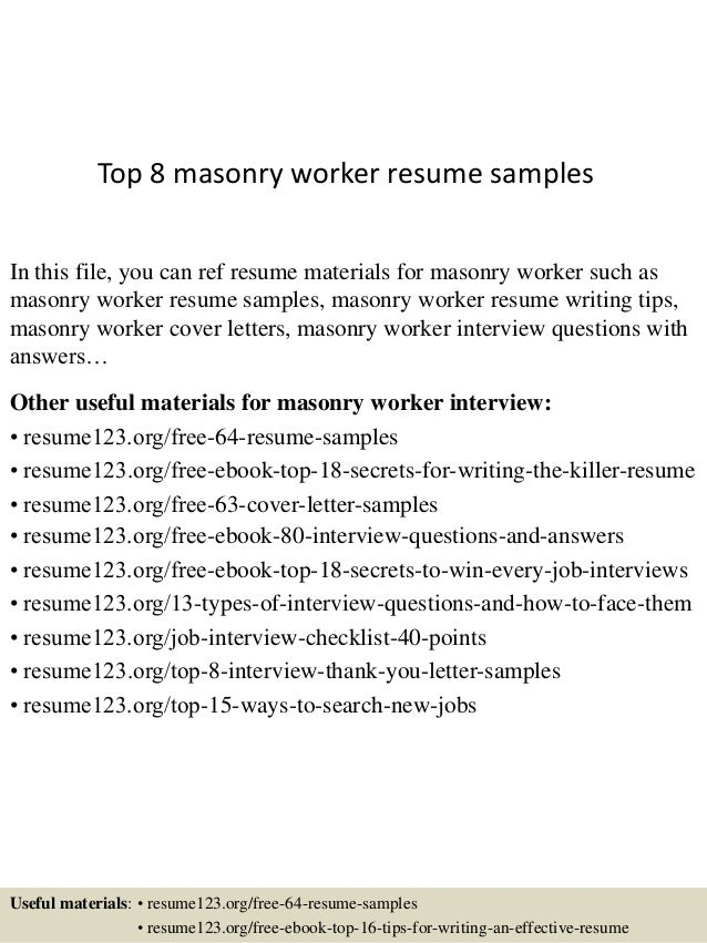 Superb Top 8 Masonry Worker Resume Samples In This File, You Can Ref Resume  Materials For ...