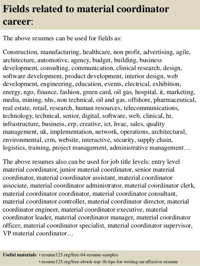 top 8 material coordinator resume sles