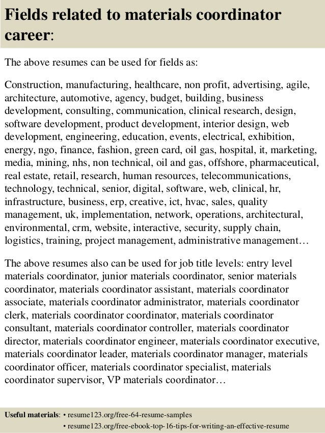 ... 16. Fields related to materials coordinator ...