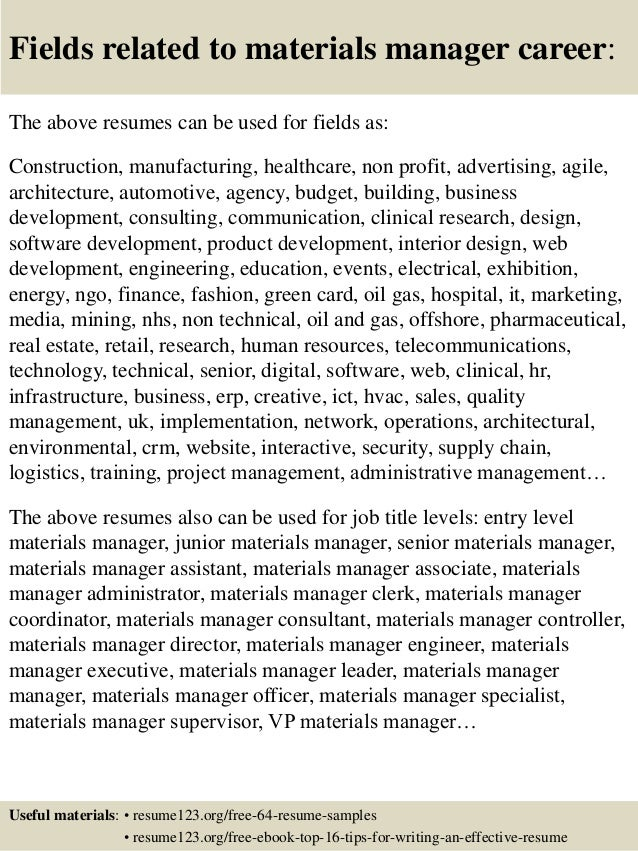 Resume Resume Examples For Material Manager top 8 materials manager resume samples 16 fields related to manager