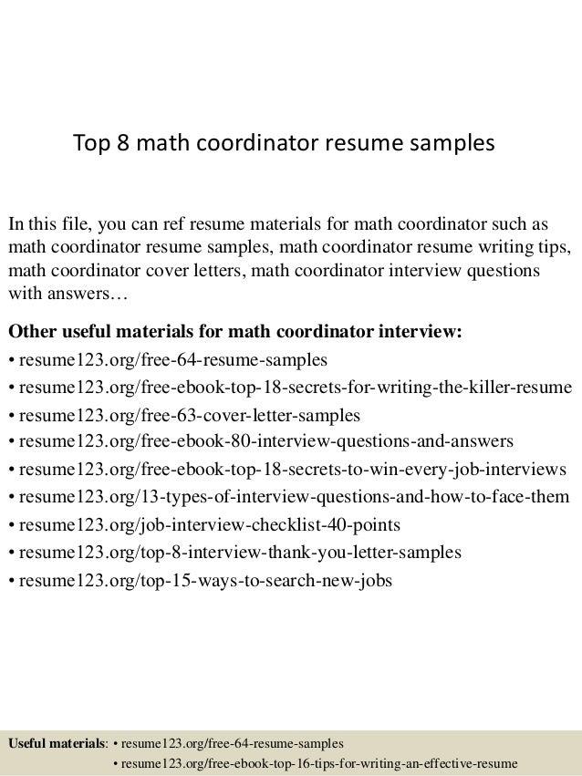 Top 8 math coordinator resume samples