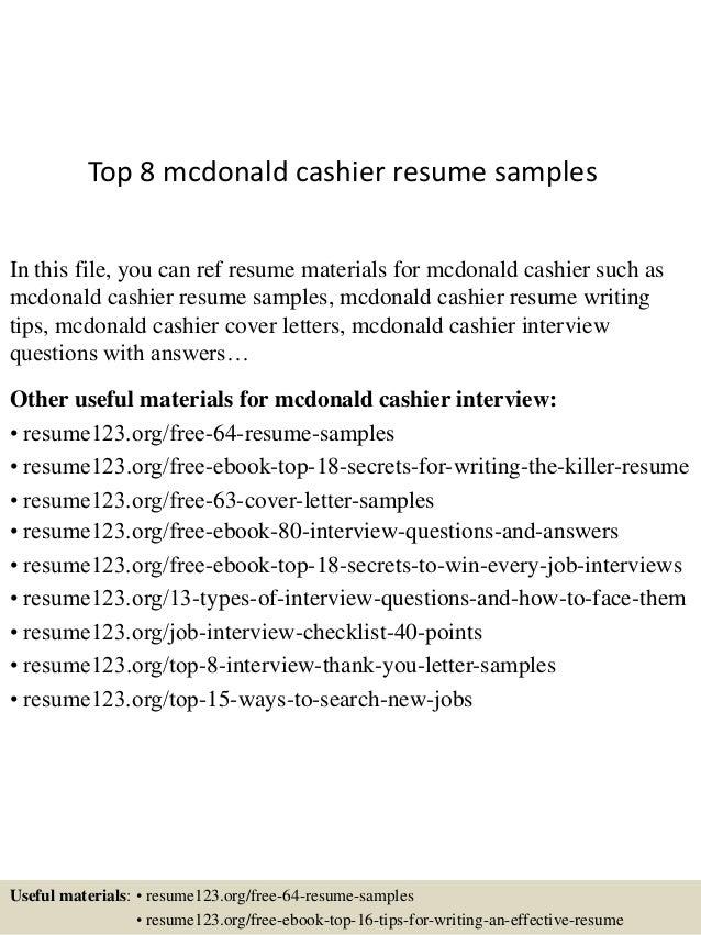 Mcdonalds Cashier Resumes