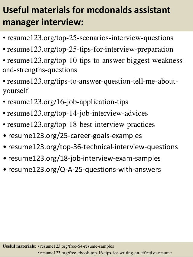 13 useful materials for mcdonalds assistant manager - Assistant Manager Sample Resume