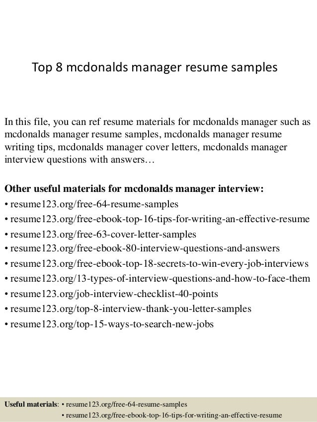 top 8 mcdonalds manager resume samples