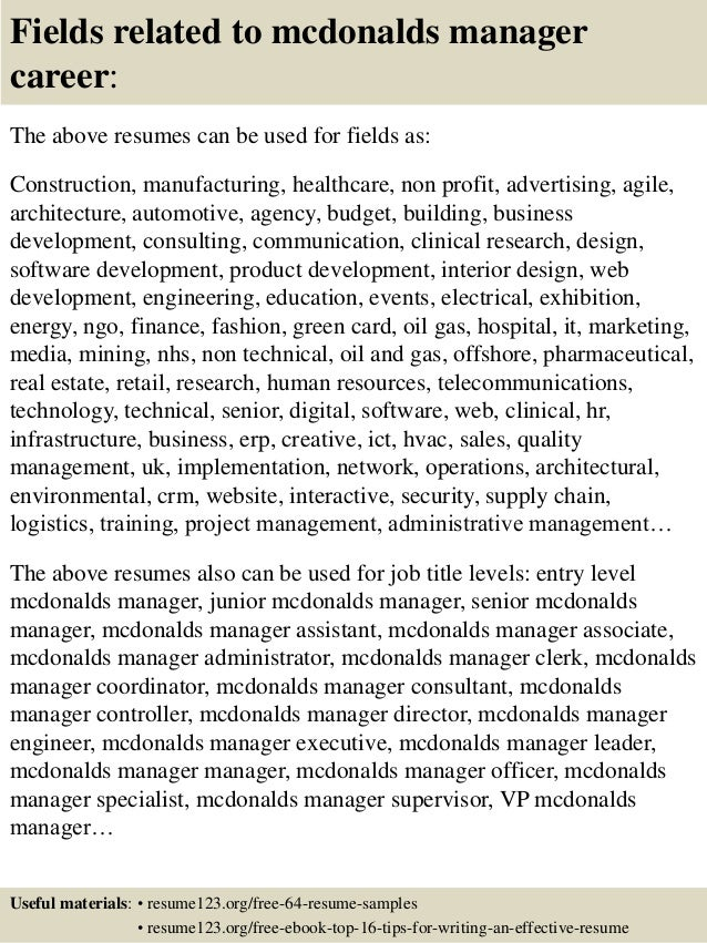 Mcdonalds Job Description For Resumes Boatremyeaton