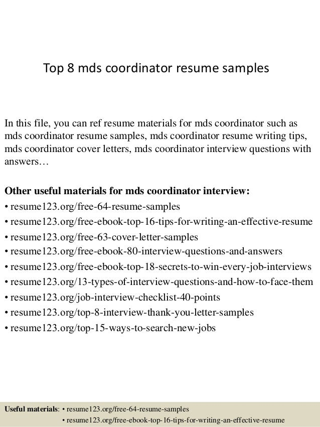Top 8 Mds Coordinator Resume Samples In This File, You Can Ref Resume  Materials For ...