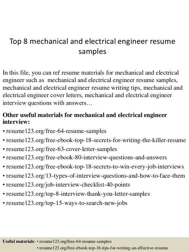 top 8 mechanical and electrical engineer resume samples in this file you can ref resume - Electrical Engineer Resume Sample