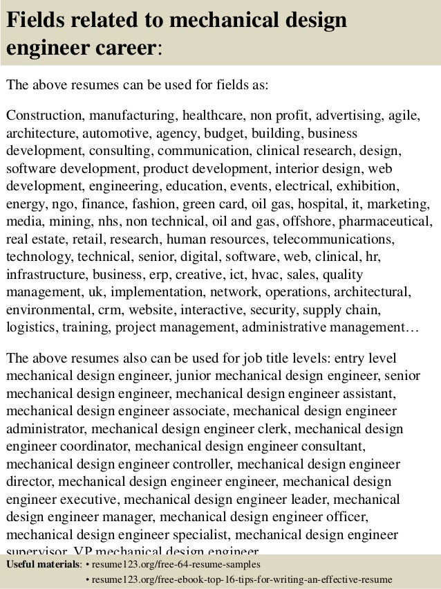 top 8 mechanical design engineer resume sles