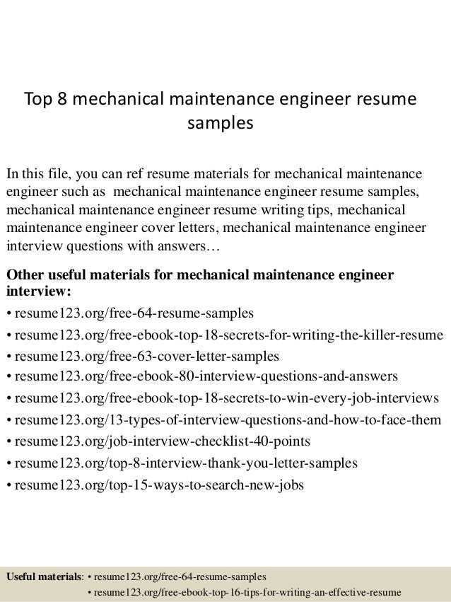 Top 8 Mechanical Maintenance Engineer Resume Samples In This File, You Can  Ref Resume Materials ...  Maintenance Engineer Resume