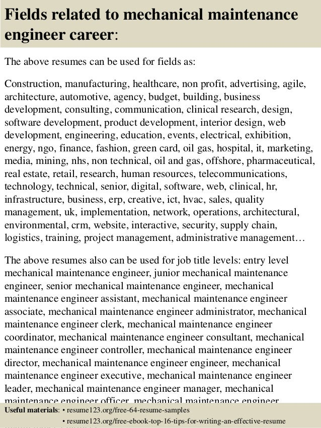 ... 16. Fields Related To Mechanical Maintenance Engineer ...
