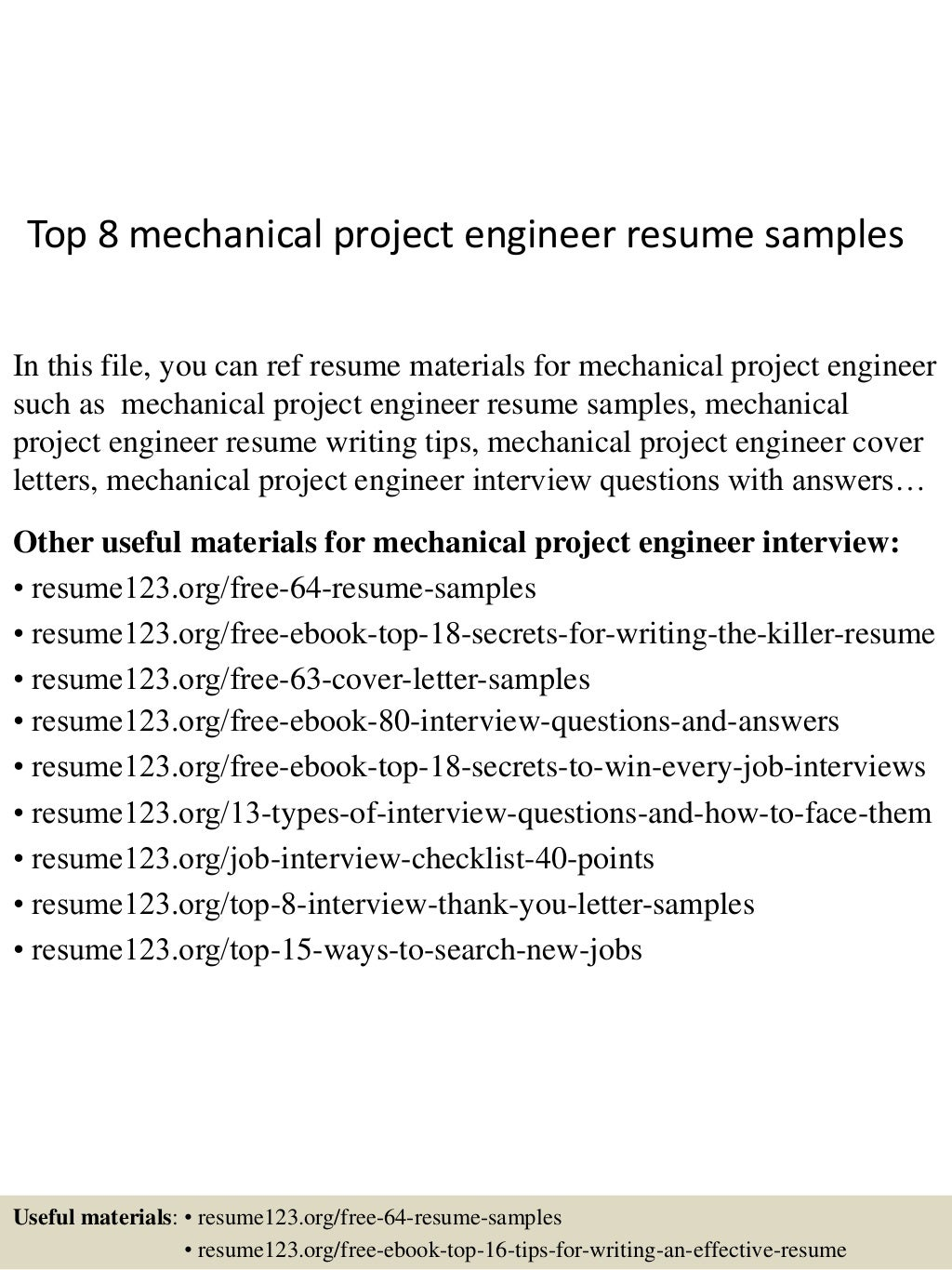 top 8 mechanical project engineer resume samples