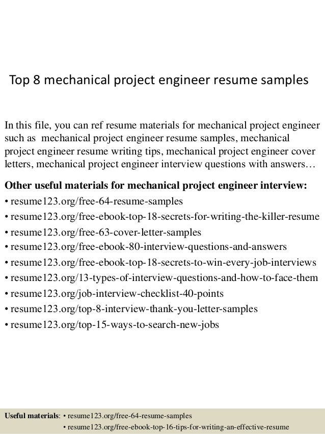 Top 8 Mechanical Project Engineer Resume Samples In This File, You Can Ref  Resume Materials ...  Mechanical Engineer Resume Sample