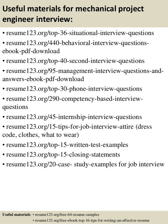 ... 12. Useful Materials For Mechanical Project Engineer ...  Mechanical Engineer Resume