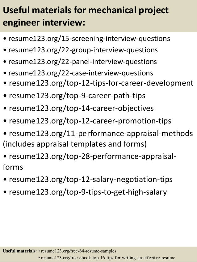 15 useful materials for mechanical project engineer - Mechanical Project Engineer Sample Resume