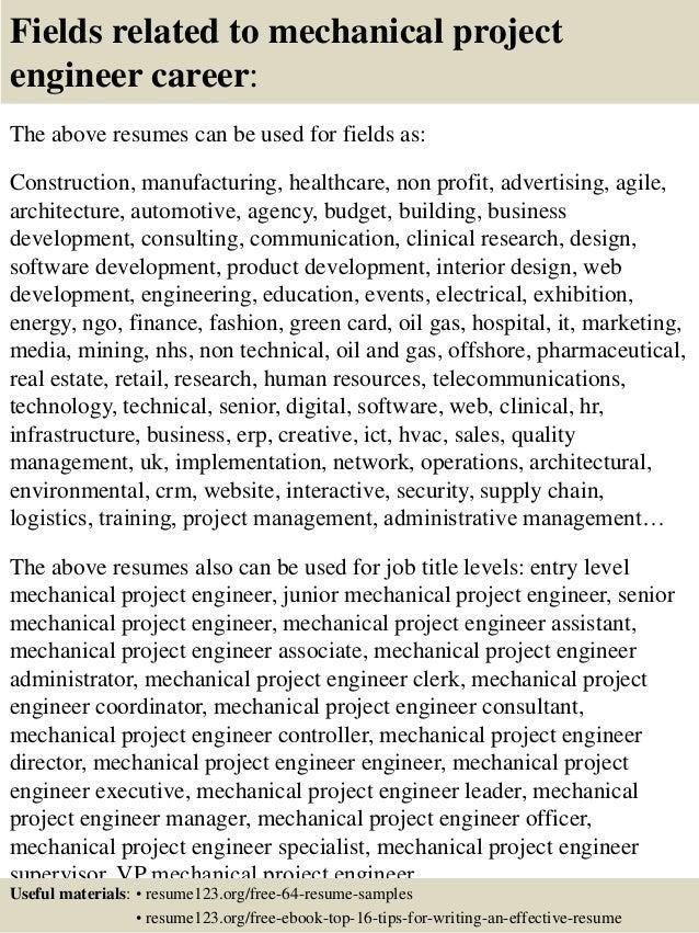 Resume Project Engineer. mechanical engineering resume sample ...