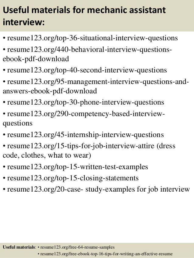 12 useful materials for mechanic assistant - Mechanic Assistant Sample Resume