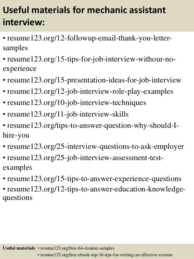 14 useful materials for mechanic assistant - Mechanic Assistant Sample Resume