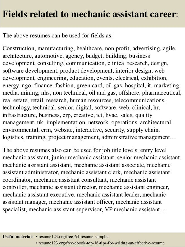 ... 16. Fields Related To Mechanic Assistant Career: The Above Resumes ...