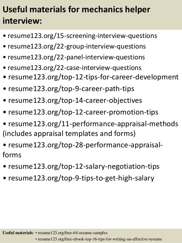 top 8 mechanics helper resume samples