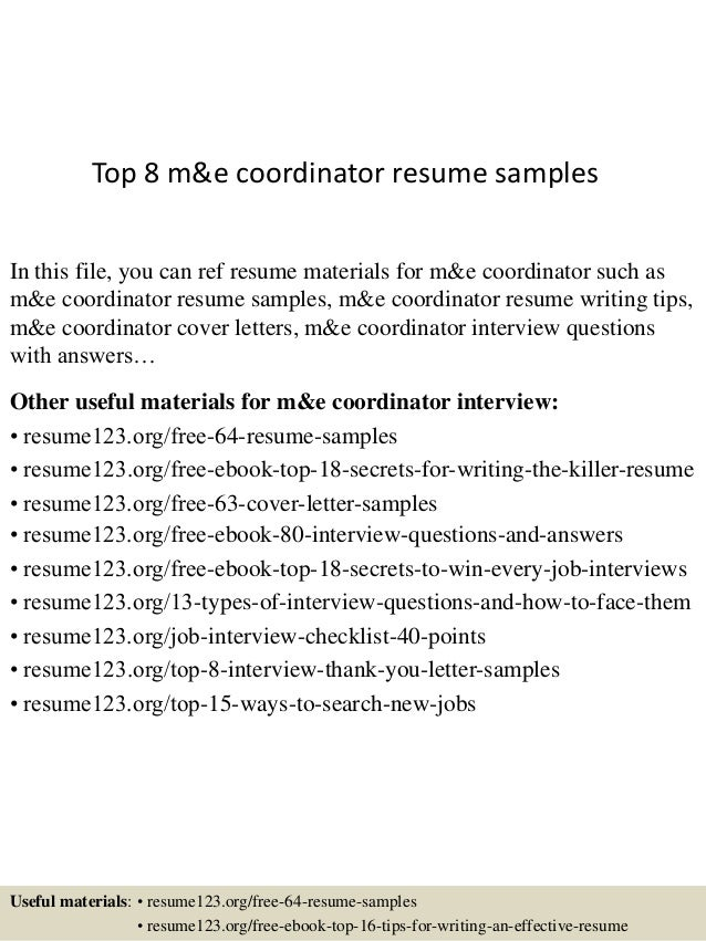 top 8 me coordinator resume samples in this file you can ref resume materials for - Coordinator Resume