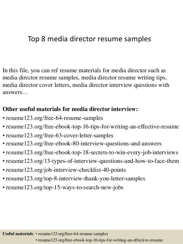 media manager resumes