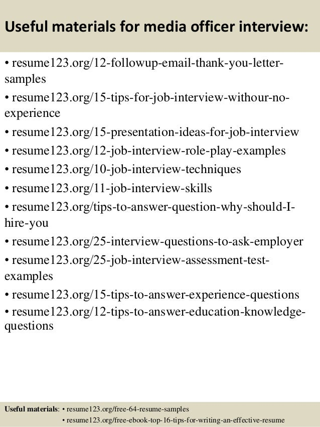 14 useful materials for media officer - Media Officer Sample Resume