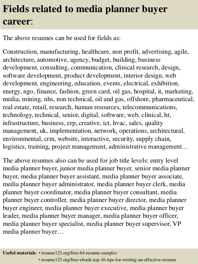 ... 16. Fields related to media planner buyer ...