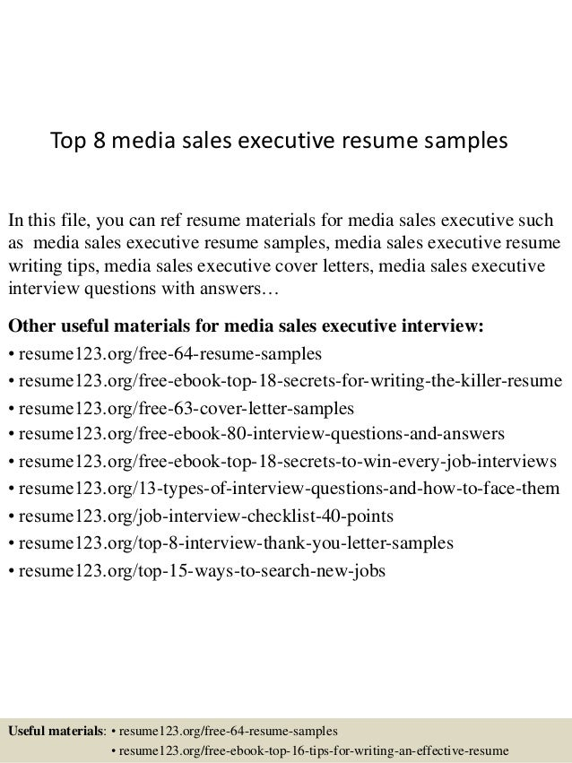 top 8 media sales executive resume samples in this file you can ref resume materials. Resume Example. Resume CV Cover Letter
