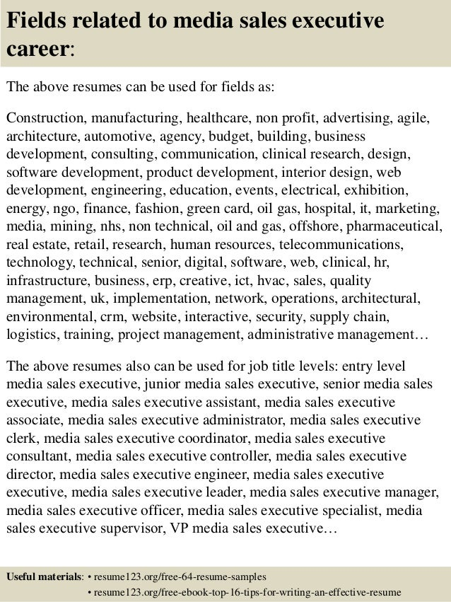 Top  Media Sales Executive Resume Samples