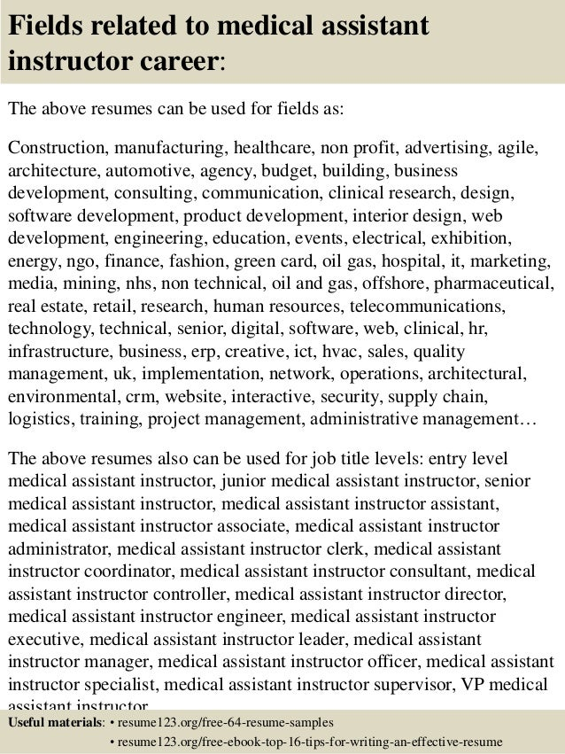 16 fields related to medical assistant instructor medical assistant instructor resume - Medical Assistant Instructor Resume