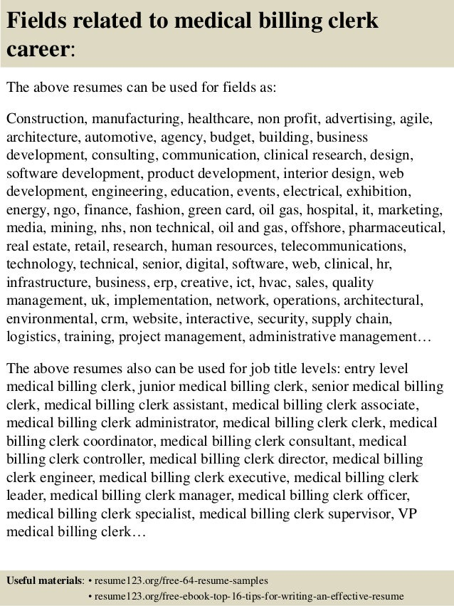 ... 16. Fields related to medical billing clerk ...