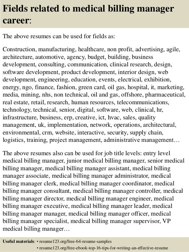 ... 16. Fields Related To Medical Billing Manager ...  Billing Manager Resume
