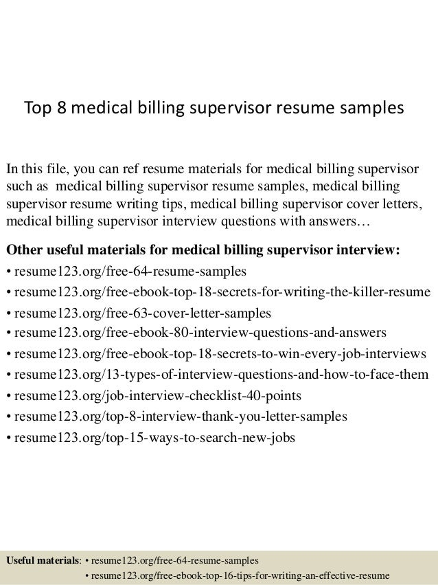 top 8 medical billing supervisor resume samples