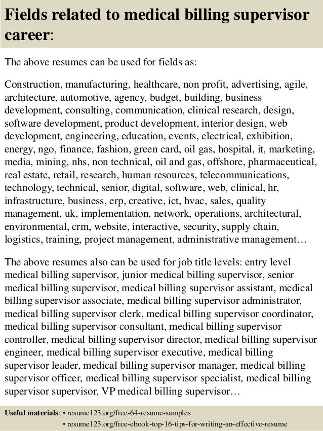 Top 8 medical billing supervisor resume samples