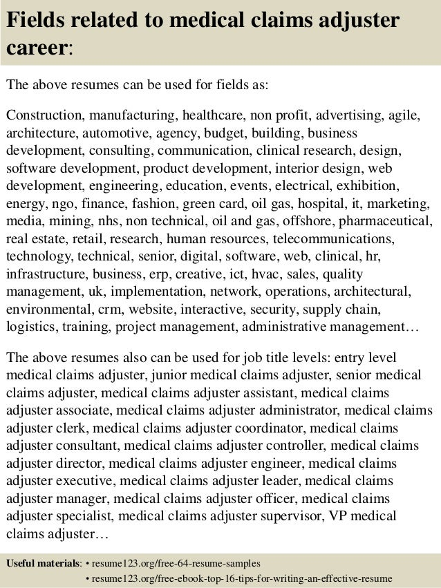fields related to medical claims adjuster - Field Adjuster Sample Resume