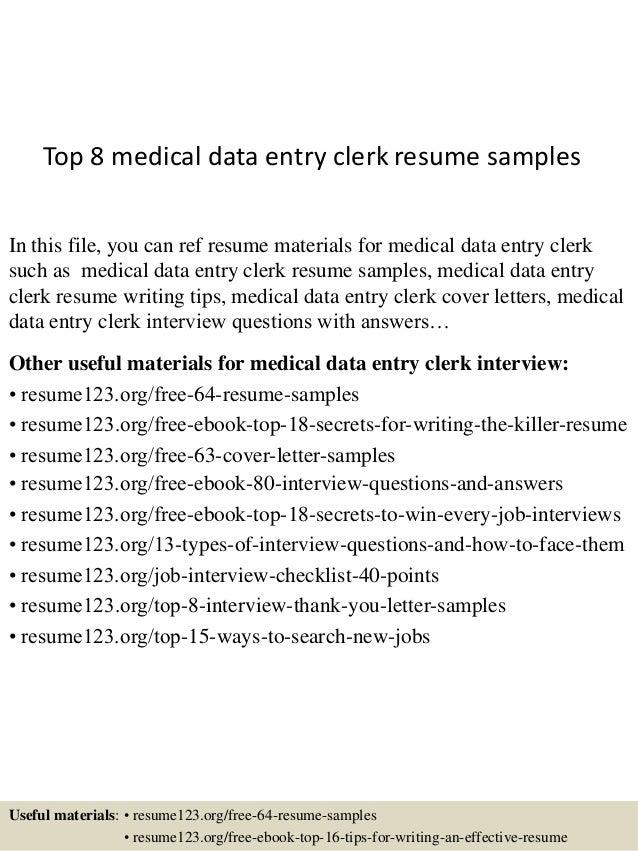 order entry clerk resume