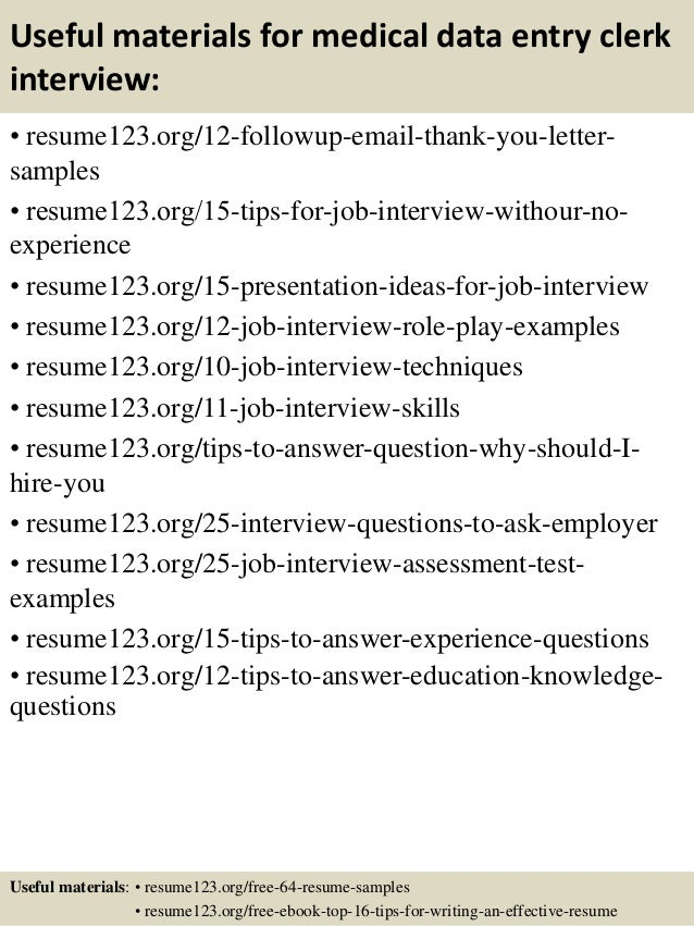 ... 14. Useful Materials For Medical Data Entry ...  Data Entry Resume Sample