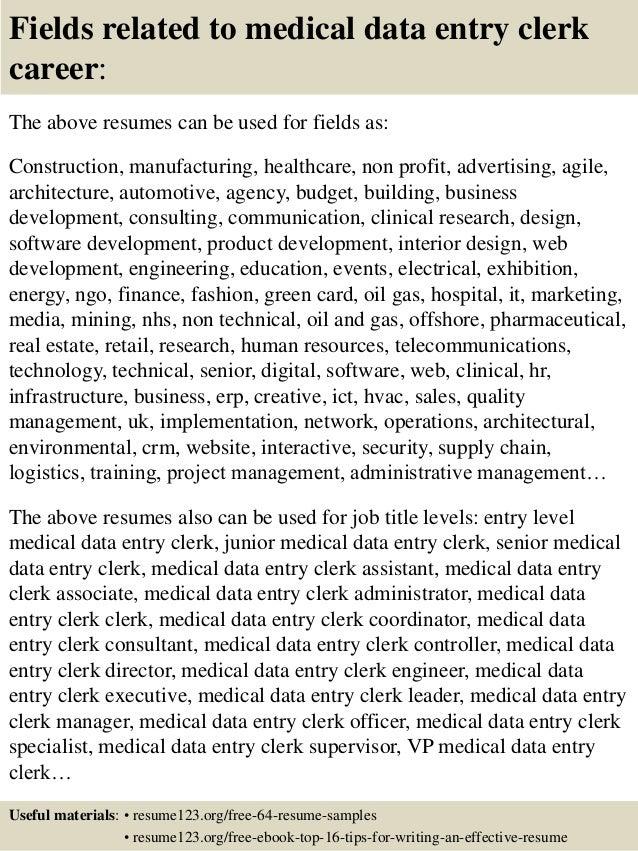 16 fields related to medical data entry clerk - Resume Sample For Data Entry Clerk