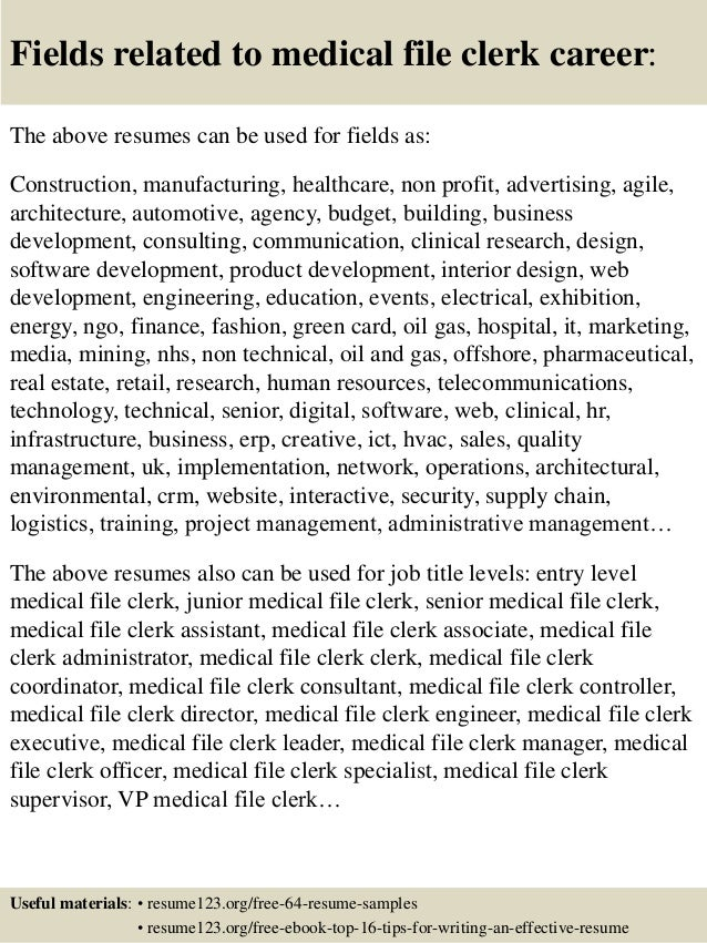 File Clerk Resumes - Gse.Bookbinder.Co