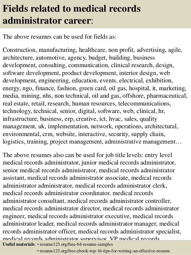... 16. Fields Related To Medical Records ...