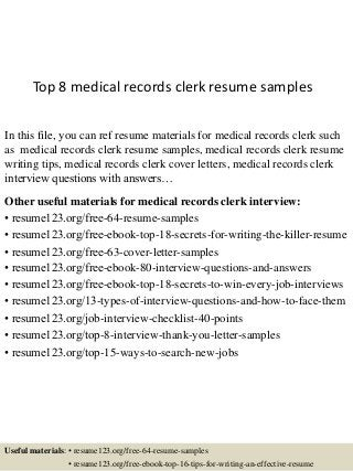 next slideshares - Medical Records Clerk Resume