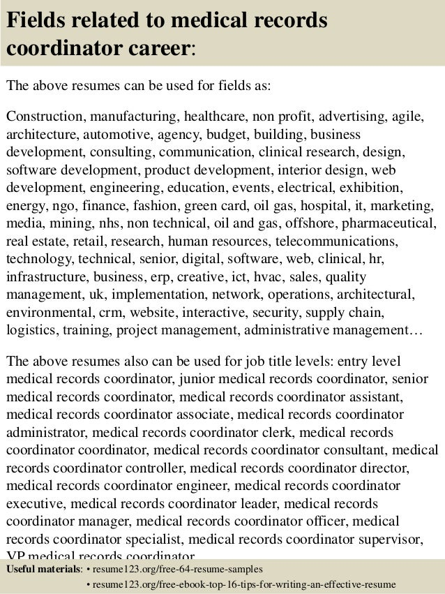 ... 16. Fields Related To Medical Records ...  Medical Records Resume