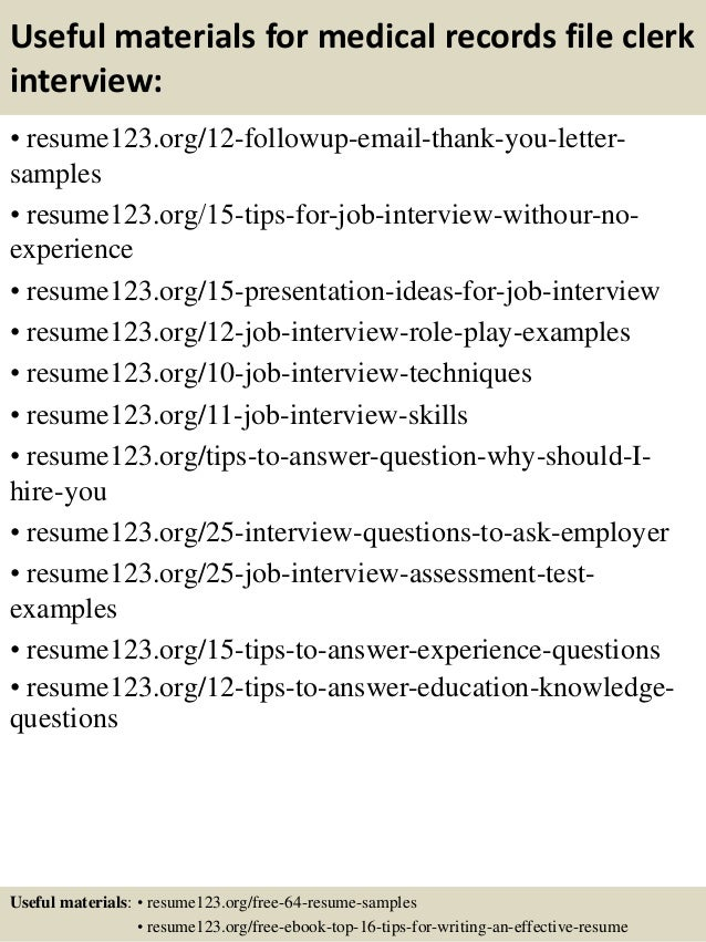 Clerical Resumes Examples Medical Records Resume Supervisor