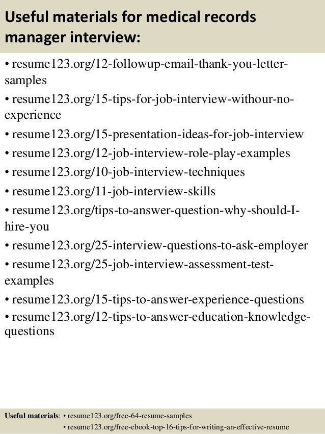 Top  Medical Records Manager Resume Samples
