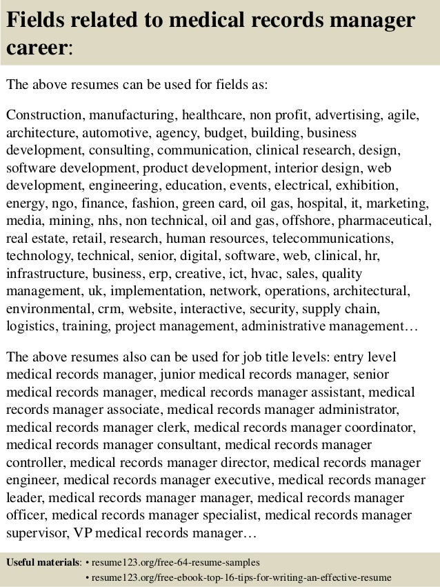medical records resume - Medical Records Resume